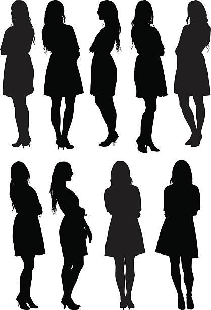 ilustraciones, imágenes clip art, dibujos animados e iconos de stock de informal mujeres de pie - cabello largo