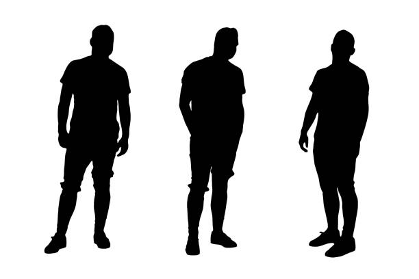 Casual Young Male Model - Vector Three young male model shape vectors. Black on white background. human representation stock illustrations