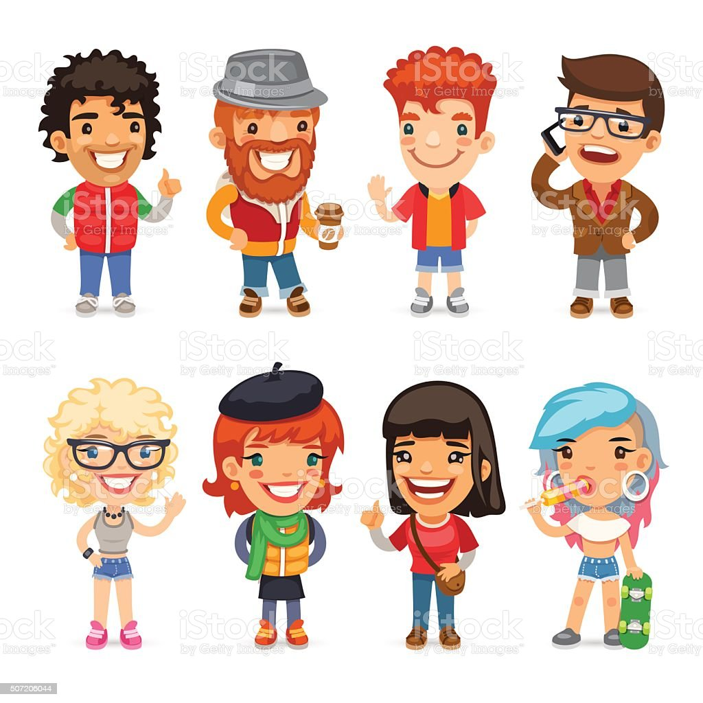 Cartoon Characters Clothes : Casually dressed cartoon characters stock vector art