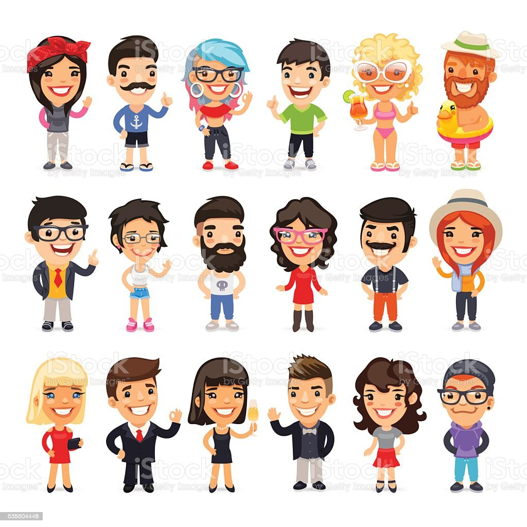 Casually Dressed Flat Characters Set vector art illustration