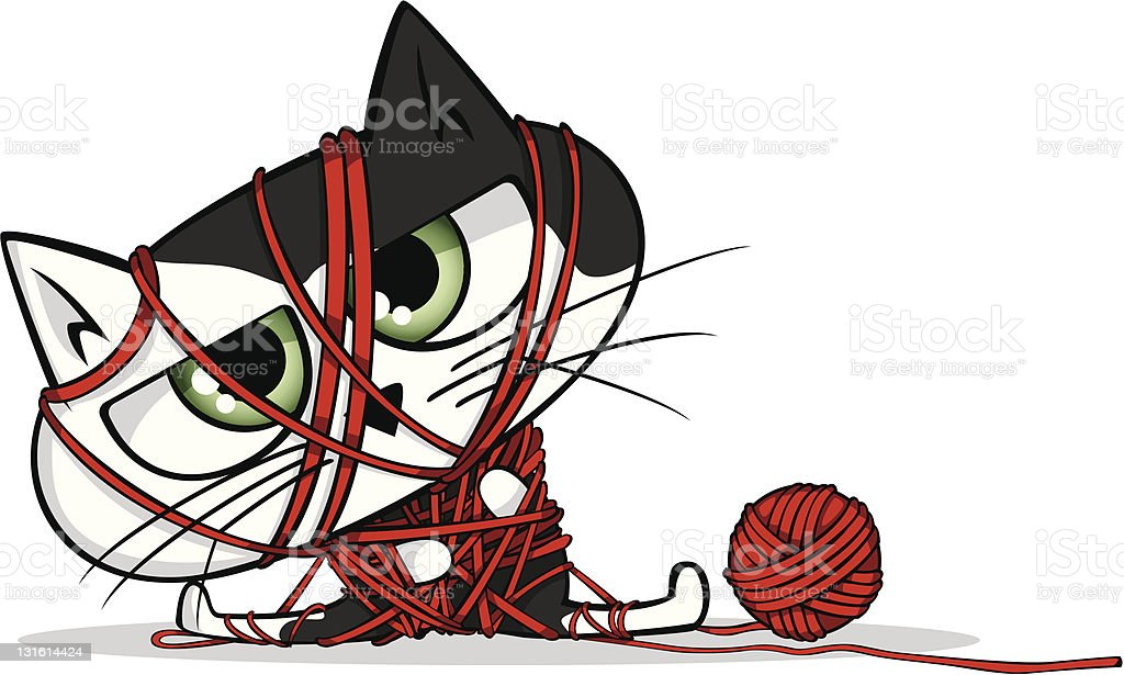 Cat all tied up vector art illustration