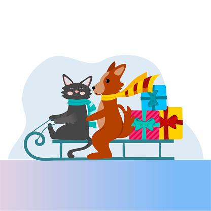 A cat and a dog sit on a sleigh and carry gifts. Vector illustration for New year and Christmas. Cute Pets in cartoon style