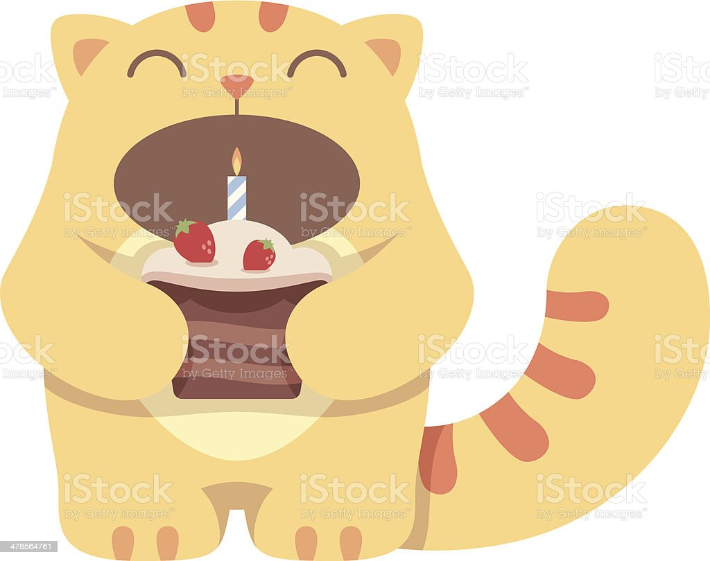 Cat And Cake Stock Vector Art More Images Of Animal 478564761 Istock