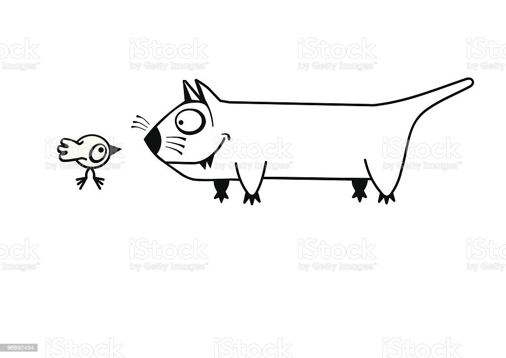 Cat and chicken royalty-free stock vector art
