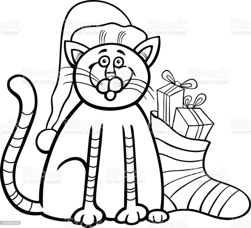 Gato Y Calcetín De Navidad Para Colorear Libro - Arte vectorial de ...