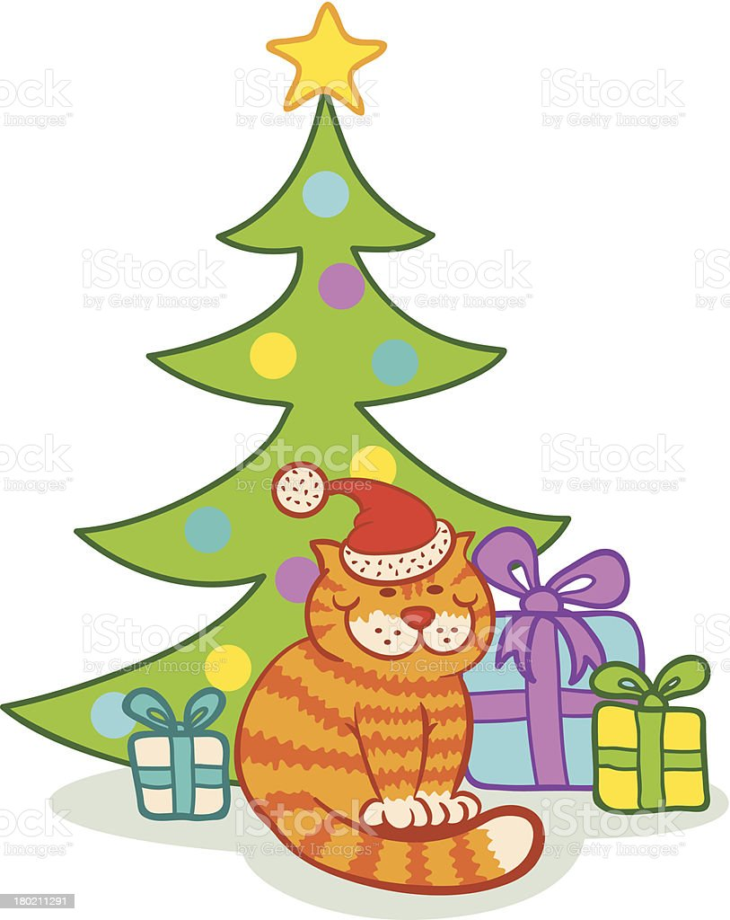 Cat and  christmas tree royalty-free stock vector art