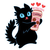 Cartoon cat hugging a coffee cup,Cat with a big cup of coffee,Cartoon cat holds cup of coffee, Black Cat and Coffee,Black Cat With Blue Eyes,My Precious,favourite drink