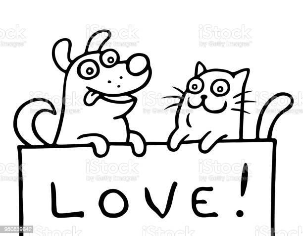 Cat and dog are holding a banner with the inscription love vector vector id950839642?b=1&k=6&m=950839642&s=612x612&h= 9qq6bwt48uhsc7oncuzubvtgt54y6nvd l3kztncmc=