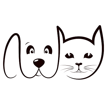 Cat and dog care silhouette