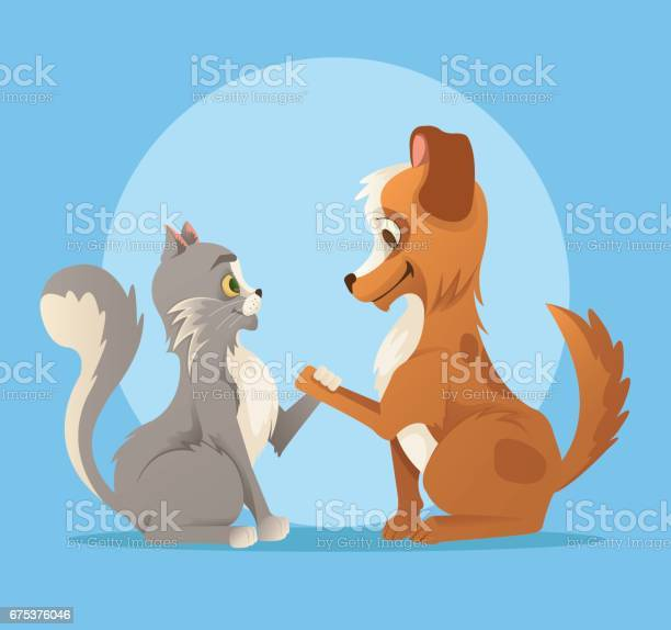 Cat and dog characters best friends smiling and handshake vector id675376046?b=1&k=6&m=675376046&s=612x612&h=agsp6cma2bree0x4 rlopgpnnxhqspef uqnonk2v24=