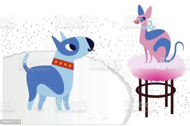 Cat and dog characters best happy friends bull terrier and sphinx vector id695552210?b=1&k=6&m=695552210&s=612x612&h= rfweejnz ahz4nmqxvocedrqrffhfo6r1smjtatrfu=