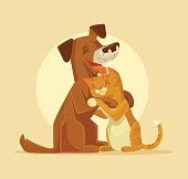 Cat and Dog characters best happy friends