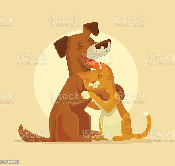 Cat And Dog Characters Best Happy Friends Stock Illustration - Download Image Now