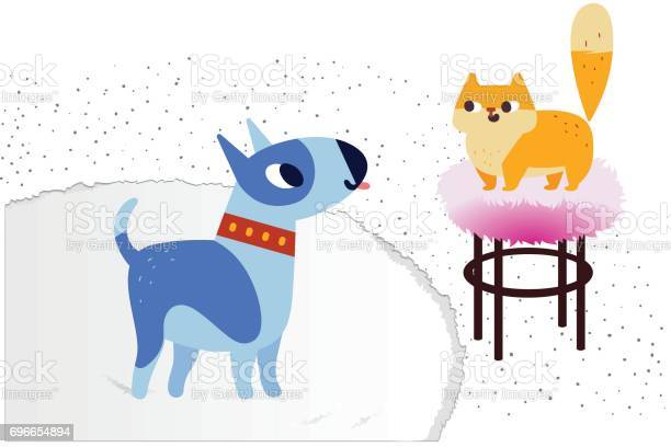 Cat and dog characters bullterrier and ginger color cat vector flat vector id696654894?b=1&k=6&m=696654894&s=612x612&h=lxtumnlhibcdea48wk8omag138mcld2ms9a9lnaqgek=