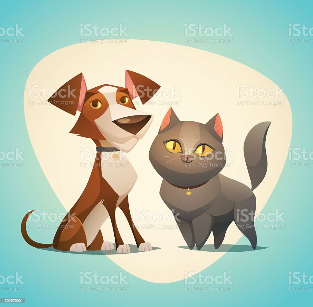 Cat and Dog characters. Cartoon styled vector illustration. vector art illustration