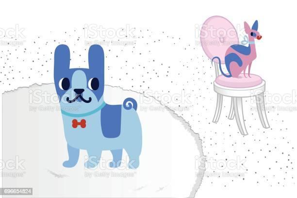 Cat and dog characters french bulldog and sphinx vector flat cartoon vector id696654824?b=1&k=6&m=696654824&s=612x612&h=gg7kbiyefjpit iewm5qnc8yurxrdh2a1y08fjnqveu=