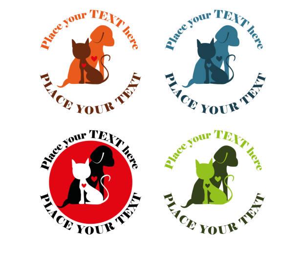 Cat and dog colorful shelter logo design Simple logo design with cat and dog. Animals have a heart. animal shelter stock illustrations