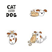 Cat and dog design elements