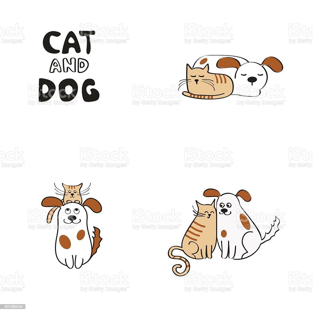 Cat and dog design elements vektör sanat illüstrasyonu