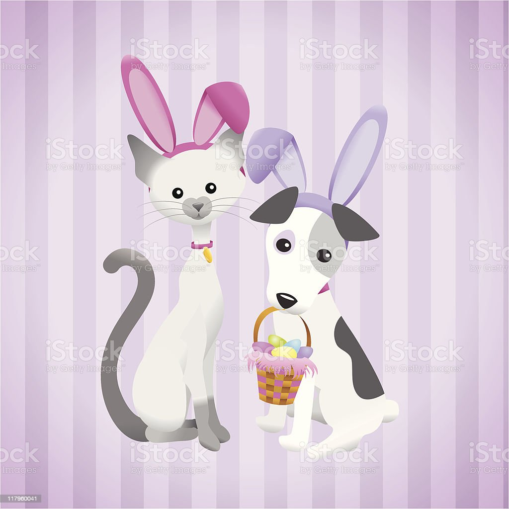 Cat and Dog Easter Friends royalty-free stock vector art