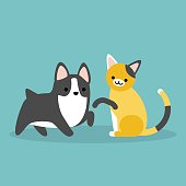 Cat and dog flat editable vector illustration, clip art