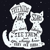 Cat and dog friends grungy card Friendship Day with quote.