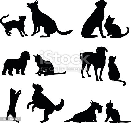 A vector silhouette illustration of multiple images of the freindship between a cat and dog either playing or posing together.