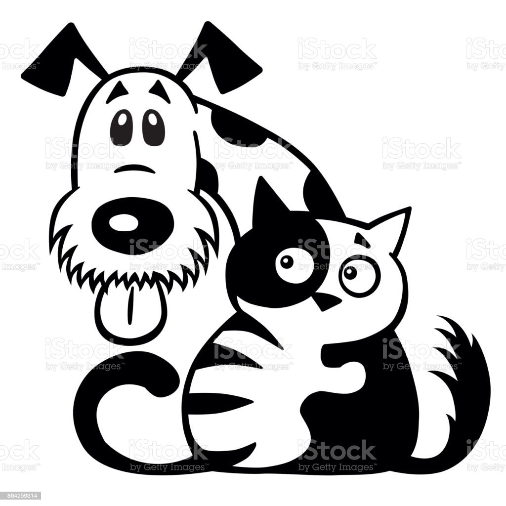 cat and dog friendship black white royalty-free cat and dog friendship black white stock vector art & more images of animal