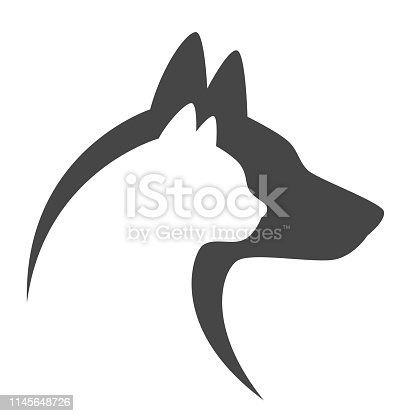 Cat and dog head on a white background