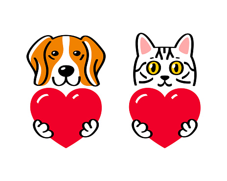 Cat and dog holding a heart