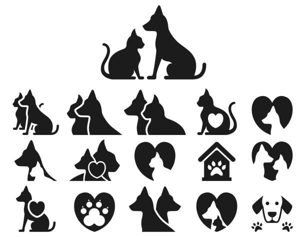 stockillustraties, clipart, cartoons en iconen met katten- en pictogrammenset - honden