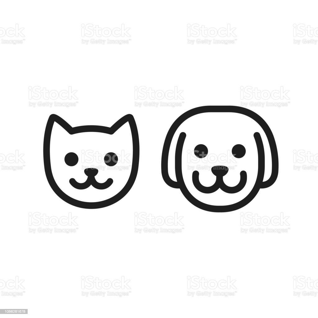 Cute Cat Face Illustration Set:  Cat And Dog Icon Stock Illustration