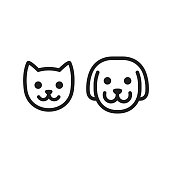 Cat and dog head icon. Simple smiley pet face vector illustration set.