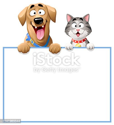 Vector illustration of a cheerful dog (Labrador) and a cute gray striped cat peeking over a blank sign, ready for your text. Concept for pets, animal friendship, domestic animals, veterinarians and pet shops.