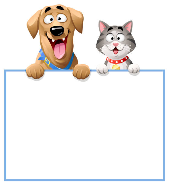 stockillustraties, clipart, cartoons en iconen met kat en hond gluren over blanco teken - in de camera kijken