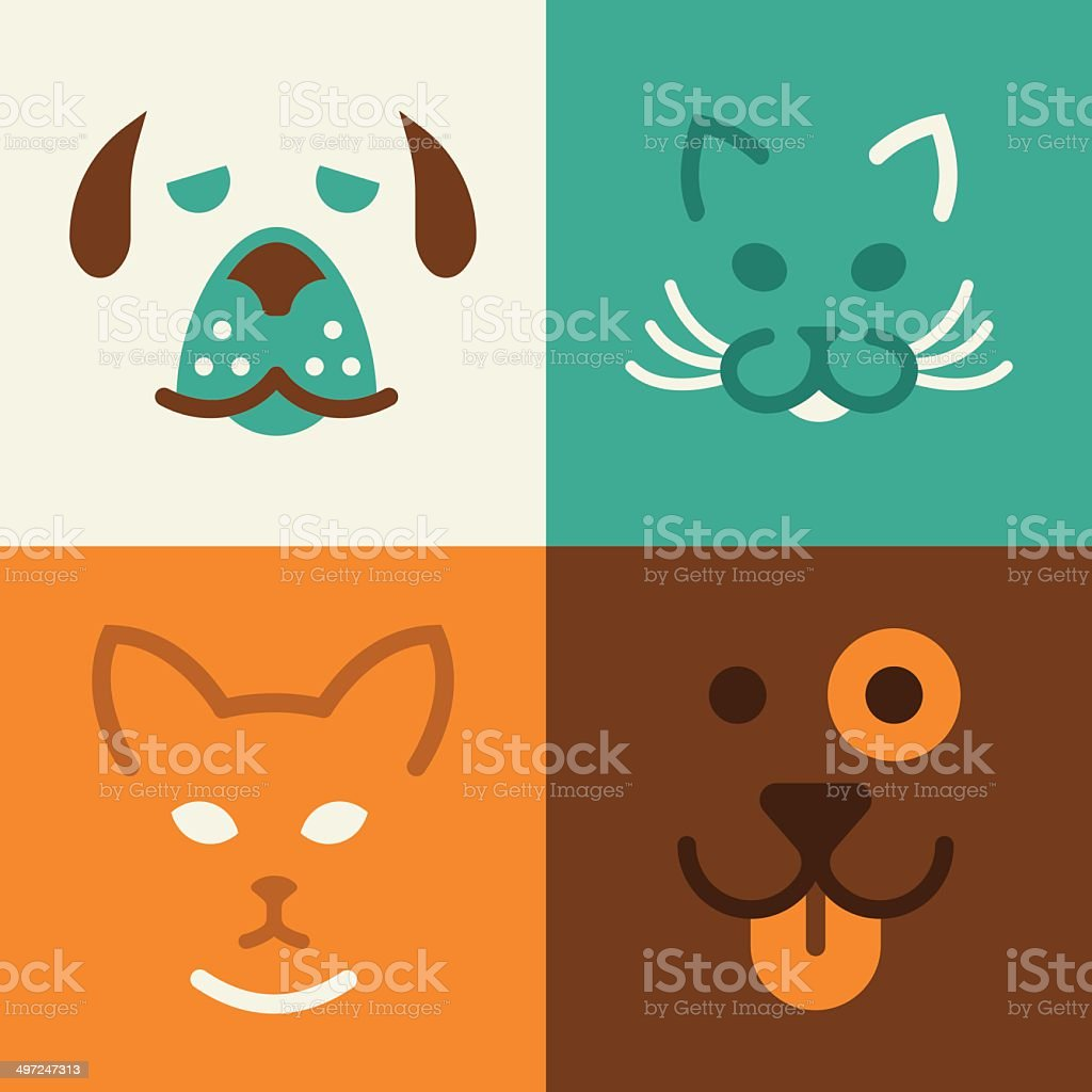 Cat and Dog Pet Symbols vector art illustration