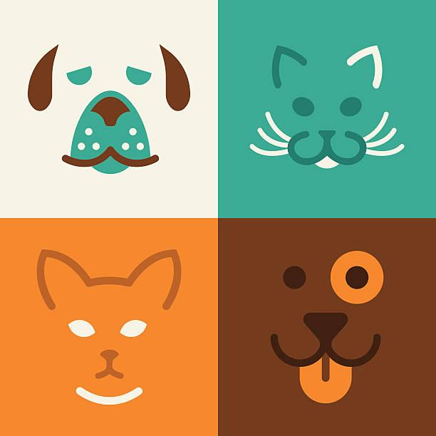 katze und hund haustiere symbole - tierkopf stock-grafiken, -clipart, -cartoons und -symbole