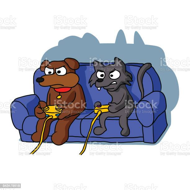 Cat and dog playing videogame at home vector id543479518?b=1&k=6&m=543479518&s=612x612&h=dkqkdifqeow 2kgxcpiismfz8z73jqqsidyo7rgvcn0=