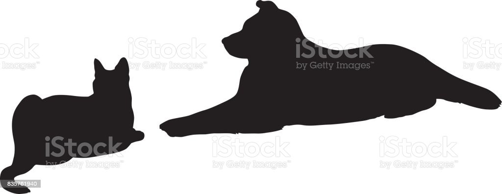 Cat And Dog Resting Together Silhouette vector art illustration