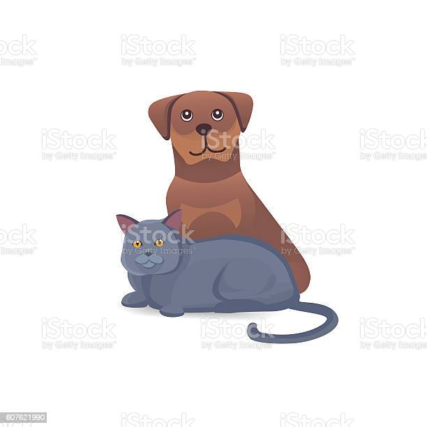 Cat and dog together cute characters cartoon vector illustration vector id607621990?b=1&k=6&m=607621990&s=612x612&h=xy3 kbubkl4gbpyajk7m 8u3fx9xma70 aguon4yd0c=