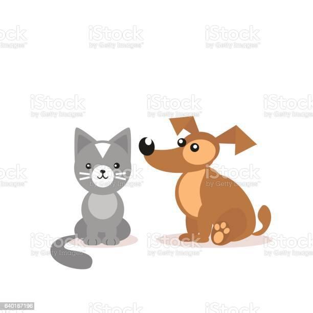 Cat and dog two friends pets veterinary clinic cartoon illustration vector id640167196?b=1&k=6&m=640167196&s=612x612&h=su f fagswajbaoa8qaggdc7ayagg7ahb46m l8tusq=