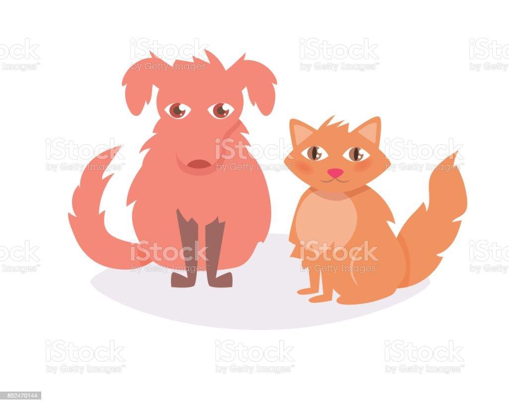 Cat and dog. Vector. Cartoon vector art illustration
