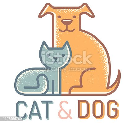 Vector flat icon with cat and dog. Vintage emblem with pets. Cat and dog.