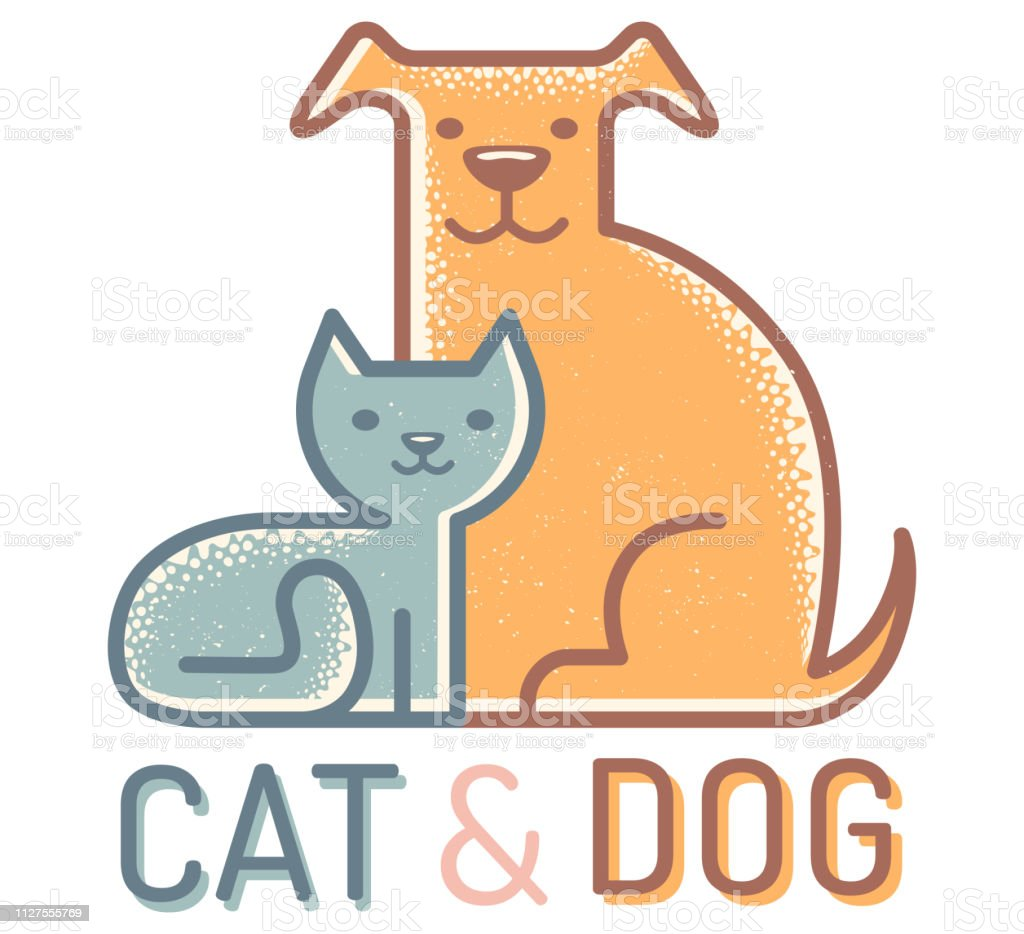 Cat and dog. vector art illustration