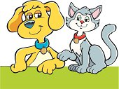 An a vector illustration of a cat and dog like friends.