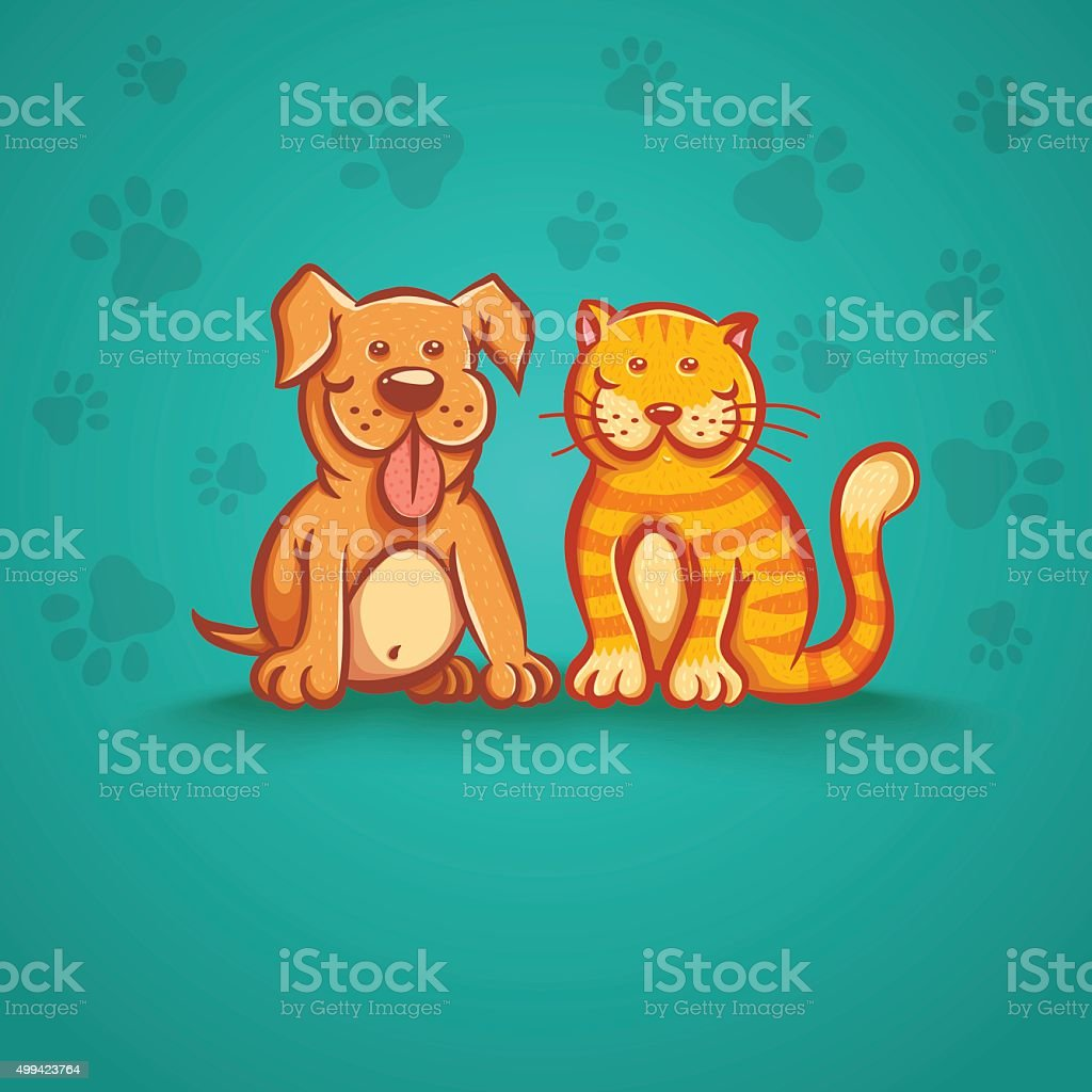 cat and dog vector art illustration