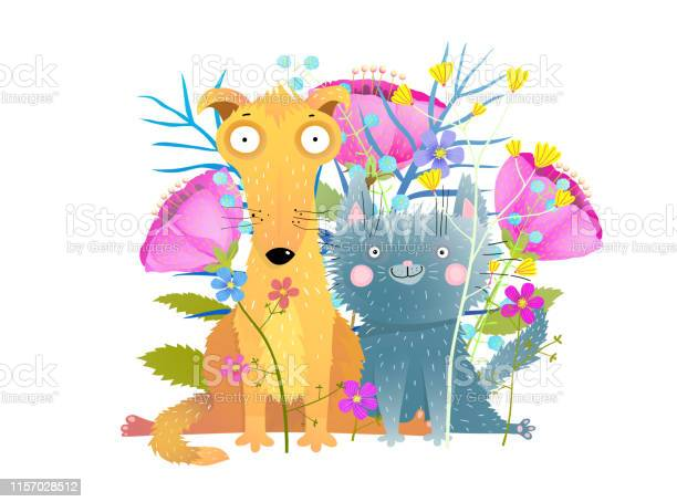 Cat and dog with flowers flat vector illustration vector id1157028512?b=1&k=6&m=1157028512&s=612x612&h=4dr76obfc7xtb5clwlqnbviwf zhtxswo elijveyca=