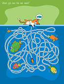 Maze Game with Cat and Fishes. Which Fish Can The Cat Catch. Vector Illustration in Flat Style
