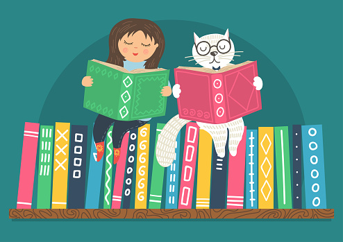 cat and girl reading books