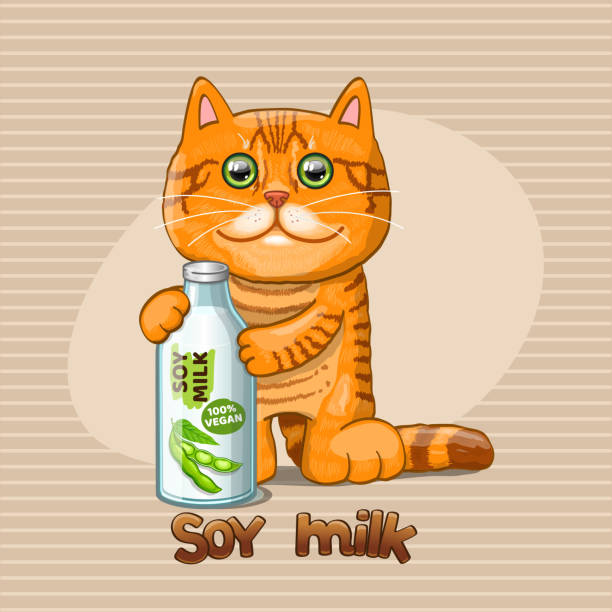 Bекторная иллюстрация Cat and glass bottle with soy milk.
